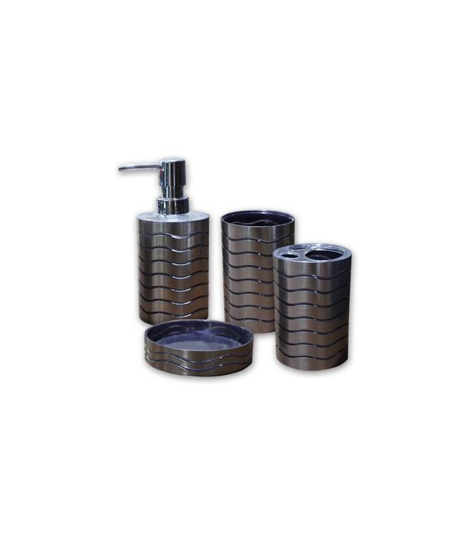 *4PC PLASTIC STAINLESS LOOK BATHROOM ACCESSORY SET (MP6)