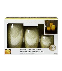 STUDIO 707 GEOMETRIC 3 PIECE LED CANDLES SET CREAM (MP12)