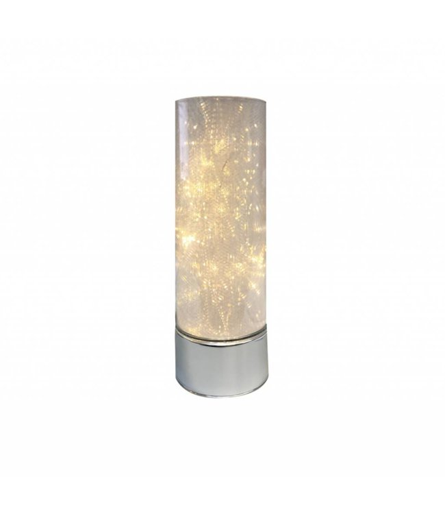 "MAISON CONDELLE *GLASS CYLINDER WITH LED LIGHT SILVER BASE 4X10"" (MP6p"
