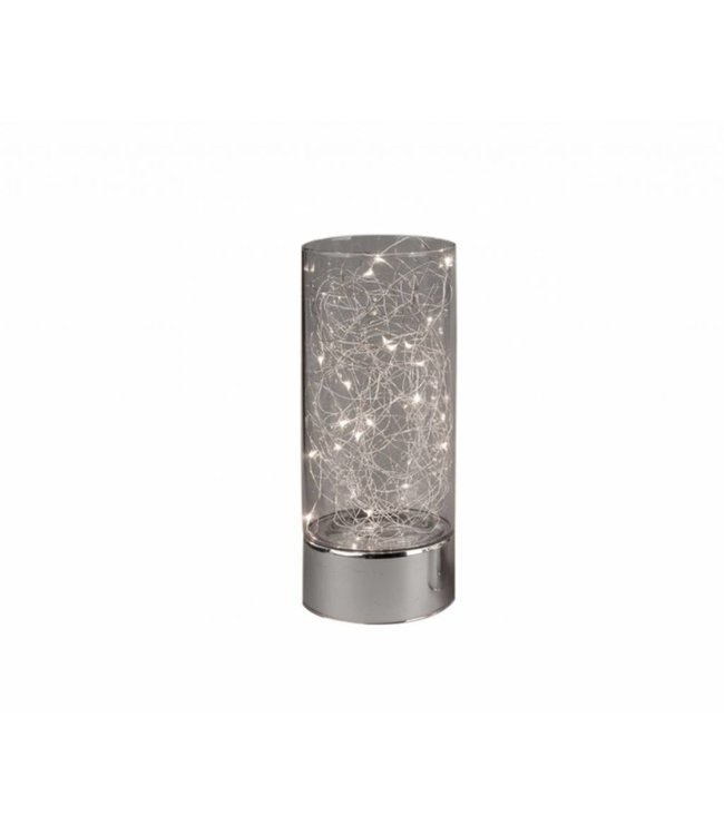 "MAISON CONDELLE *GLASS CYLINDER WITH LED LIGHT SILVER BASE 4X8"" (MP6p"
