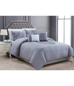 LAUREN TAYLOR 5PC TAJ DUVET COVER SET GREY (MP2)