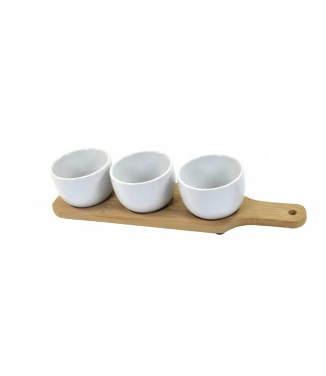 A LA CUISINE 4PC APPETIZER SET w/BAMBOO BASE (MP6)