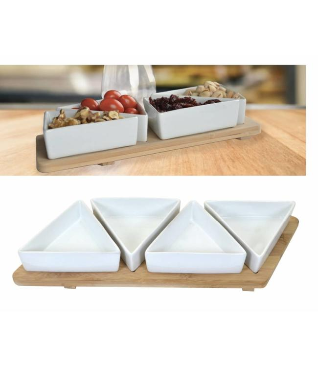 A LA CUISINE 5PC APPETIZER SET w/BAMBOO BASE (MP6)