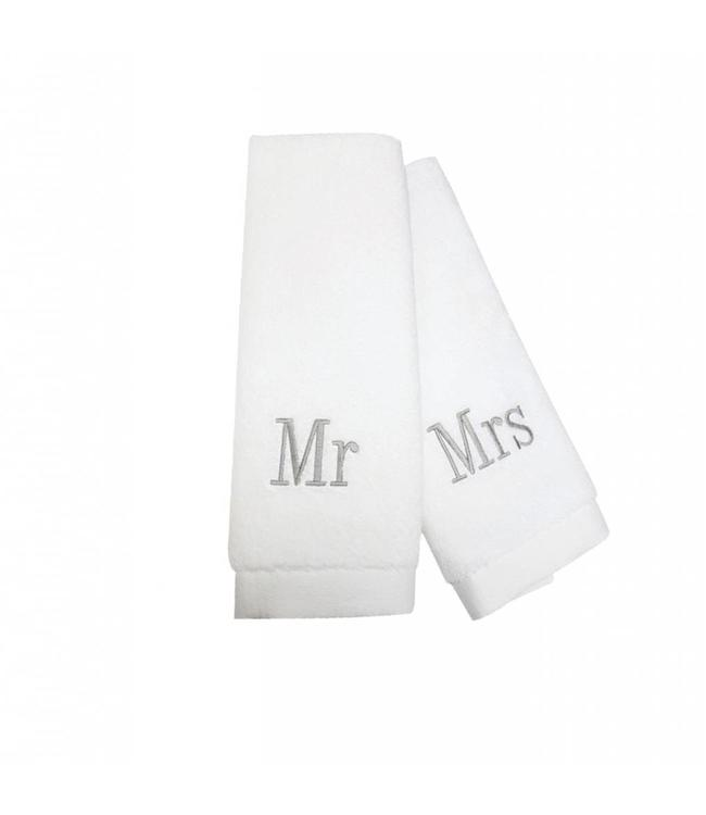"STUDIO 707 MR & MRS EMBROIDERED GUEST TOWELS WHITE 16X30"" (MP12)"