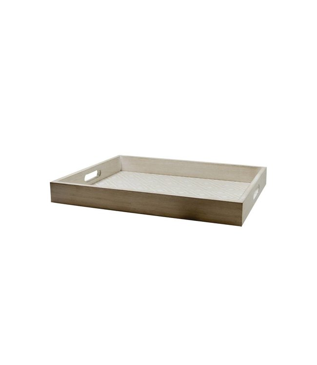 "LAUREN TAYLOR GEO WOODEN TRAY 14X18X2"" (MP6)"