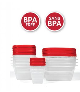 A LA CUISINE 20PC BPA FREE PLASTIC RE-USABLE FOOD CONTAINERS (MP12)