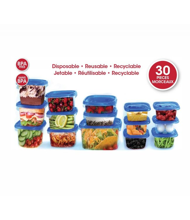 A LA CUISINE 30pc BPA FREE PLASTIC FOOD CONTAINERS (MP12)