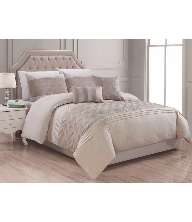LAUREN TAYLOR 5PC DALTON DUVET COVER SET TAUPE (MP2)
