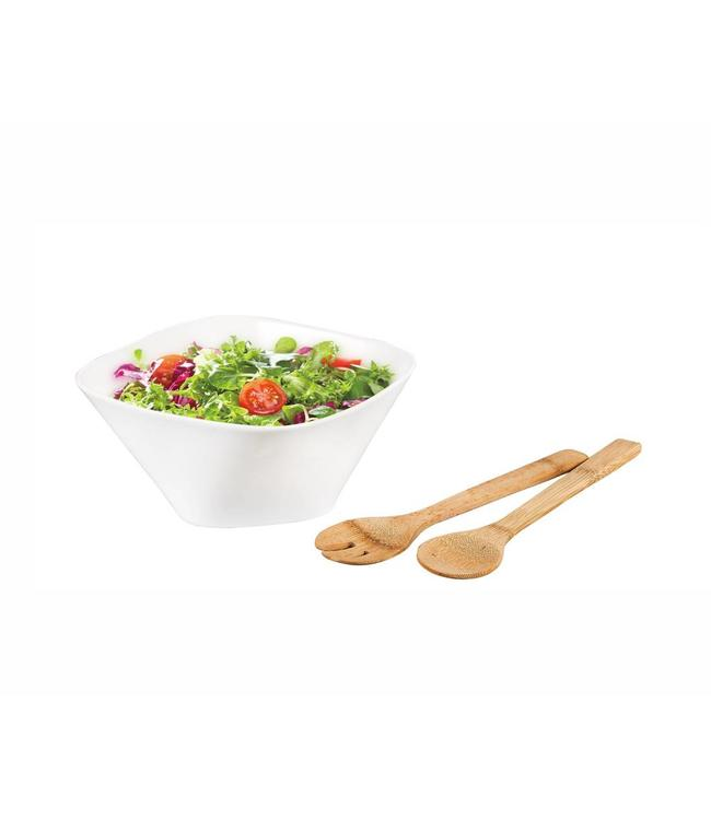 "A LA CUISINE PORCELAIN SALAD BOWL w/BAMBOO SERVERS WHITE (MP4) 11""RD"
