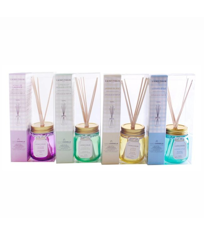 LAUREN TAYLOR MASON JAR REED DIFFUSER 100ml AST (MP16)