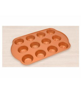 "A LA CUISINE COPPER NON-STICK MUFFIN TIN 16X10"" (MP12)"