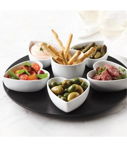 A LA CUISINE LAZY SUSAN HEART CONDIMENT SET WHITE (MP6)