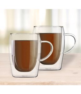 SET OF 2 DOUBLE WALL COFFEE MUG w/HANDLE 300ml (MP6)
