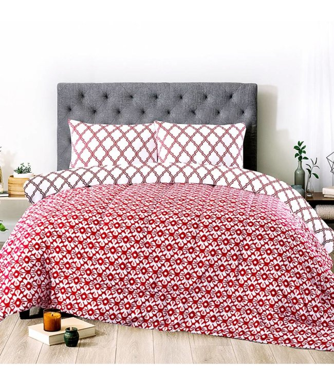 LAUREN TAYLOR KALI REVERSIBLE 3PC MICROFIBER COMFORTER SET PAPRIKA (MP2)