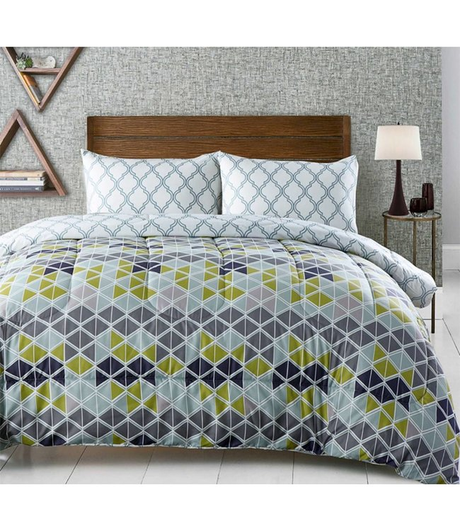 LAUREN TAYLOR JARVIS REVERSIBLE 3PC MICROFIBER COMFORTER SET MULTI (MP2)