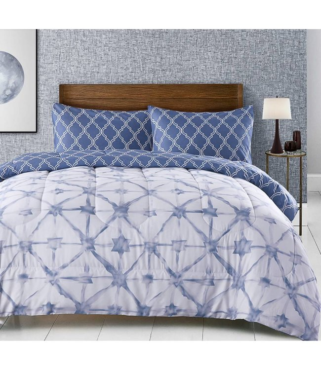 LAUREN TAYLOR KRISHNA REVERSIBLE 3PC MICROFIBER COMFORTER SET BLUE (MP2)