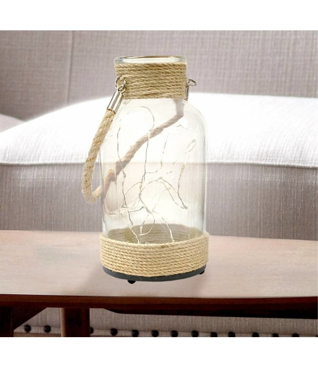 "LAUREN TAYLOR LED LANTERN w/ROPE HANDLE 4X8"" CLEAR (MP4)"