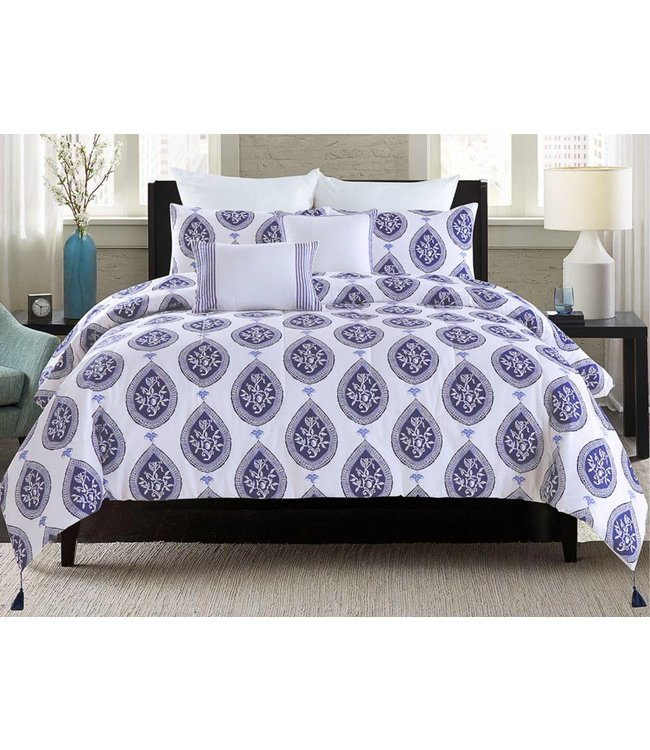 LAUREN TAYLOR *INES 5PC COTTON COMFORTER SET (MP2) BLUE