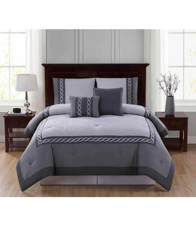 LAUREN TAYLOR THATCHER 5PC COMFORTER SET GREY (MP4)