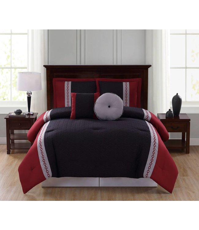 LAUREN TAYLOR *SHIRLEY 5PC COMFORTER SET RED/BLACK (MP4)