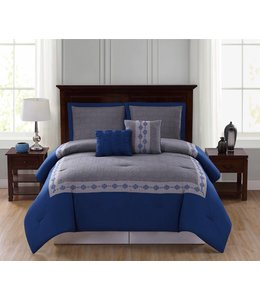LAUREN TAYLOR JARED 5PC COMFORTER SET GREY/BLUE (MP4)