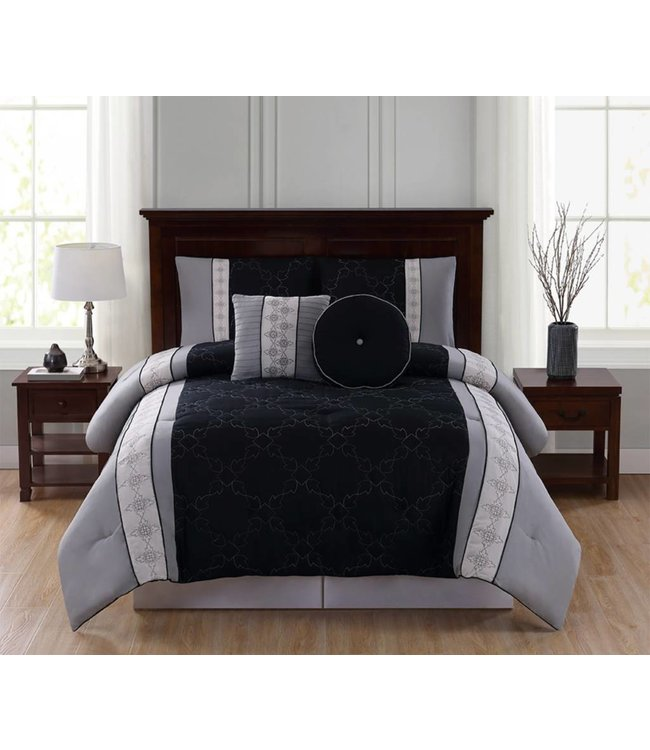 LAUREN TAYLOR *ESTELLE 5PC COMFORTER SET GREY/BLACK (MP4)