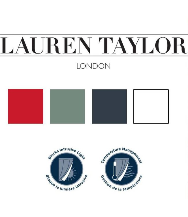 "LAUREN TAYLOR NOAH BLACKOUT GROMMET WINDOW PANEL RED 54X96"" (MP6)"