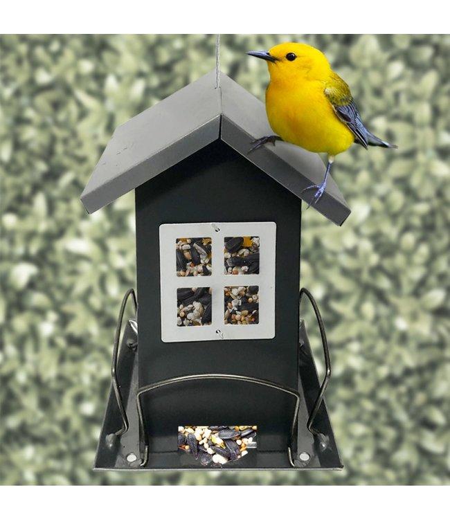 "LAUREN TAYLOR BIRD FEEDER 5X5X7"" GREY (MP12)"