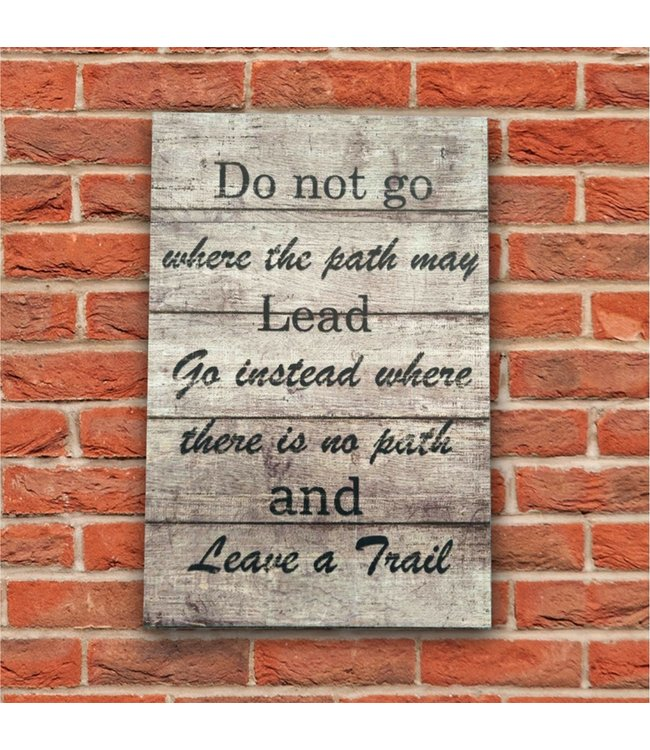 "LAUREN TAYLOR WOOD WALL ART LEAVE A TRAIL 16X23.5"" GREY (MP8)"