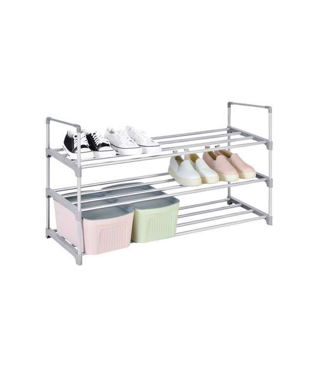 "STUDIO 707 *3 TIER ALUMINUM SHOE RACK GREY 35X11X21"" (MP12)"