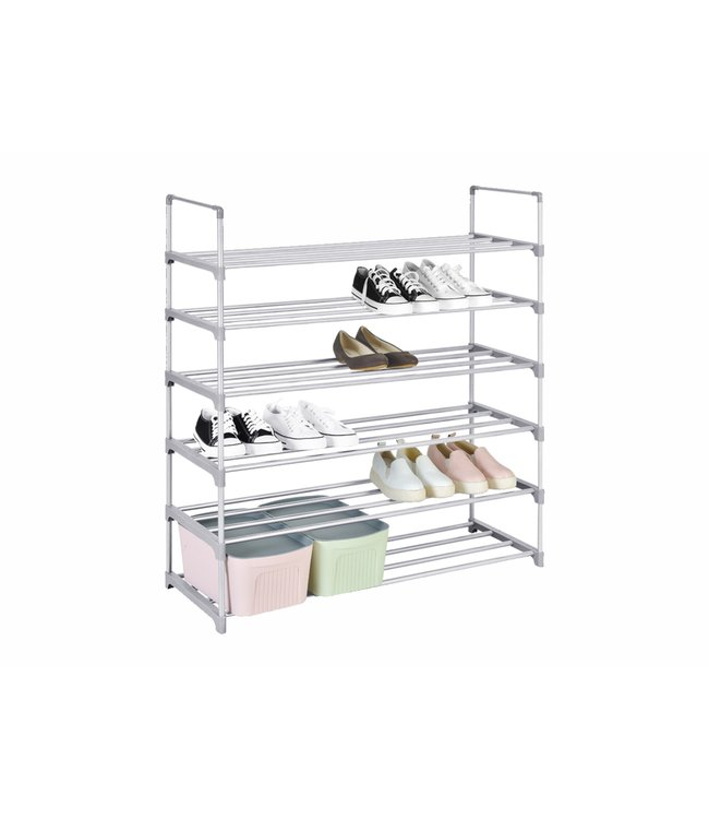 "STUDIO 707 *6 TIER ALUMINUM SHOE RACK GREY 35X11X41"" (MP8)"