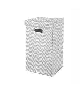 "ADRIEN LEWIS *STORAGE LAUNDRY HAMPER WHITE/GREY 13X13X22""  (MP12)"