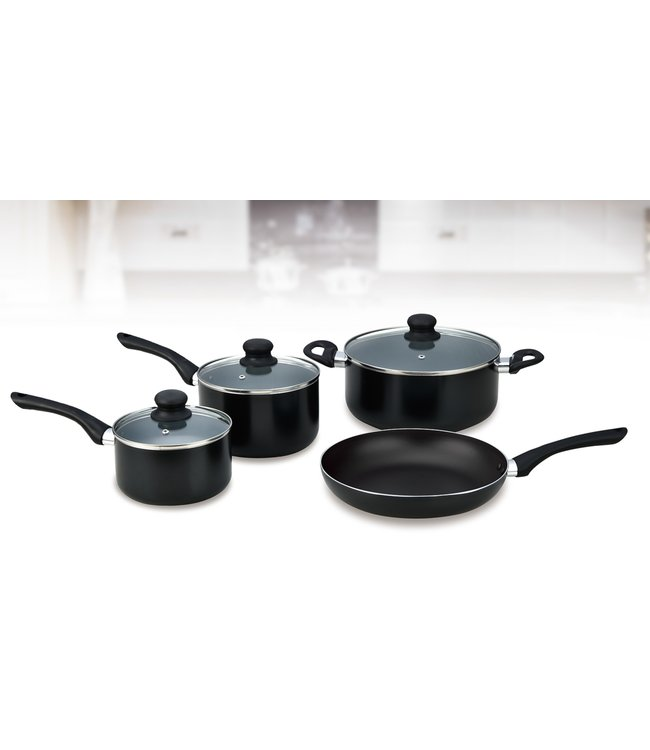 A LA CUISINE 7PC NON-STICK COOKWARE STARTER KIT BLACK (MP4)