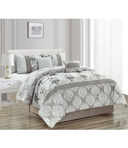 ADRIEN LEWIS CHARLOTTE 5PC COMFORTER SET GREY (MP2)