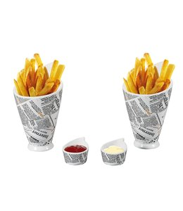 A LA CUISINE 4pk NEWSPAPER PRINT SNACK DISH (MP6)