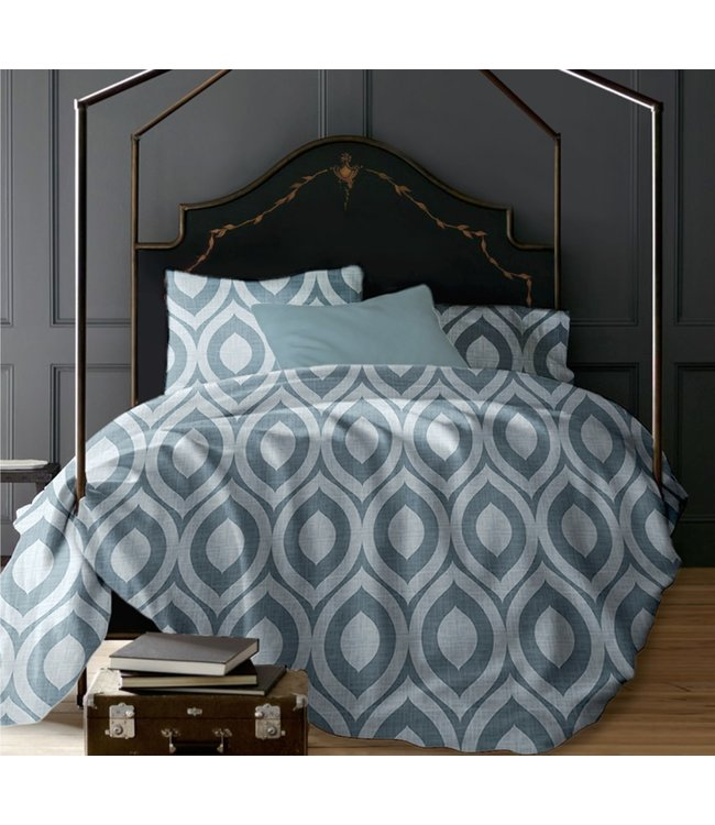 LAUREN TAYLOR ROMEO GEO 3PC PRINTED MICRO FIBER DUVET COVER SET DENIM (MP4)