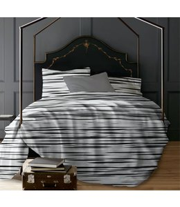 LAUREN TAYLOR *ROMEO STRIPE 3PC PRINTED MICRO FIBER DUVET COVER SET GREY (MP4)