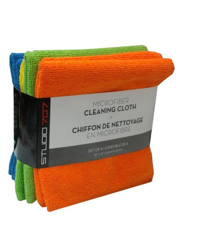 "8pk MICROFIBER CLEANING CLOTH MULTI 13X13"" (MP50)"