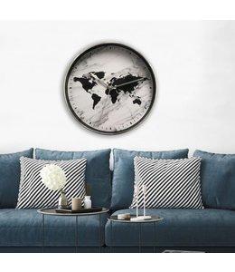 "LAUREN TAYLOR WORLD MAP WALL CLOCK BLACK/MARBLE 12"" (MP6)"