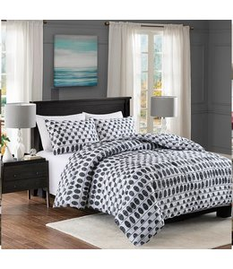 LAUREN TAYLOR *HUDSON 3PCS COMFORTER SET GREY (MP2)