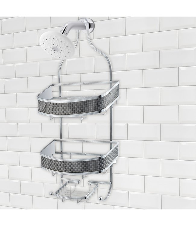 "LAUREN TAYLOR *SHOWER CADDY BLACK/CHROME 12X5X24"" (MP6)"