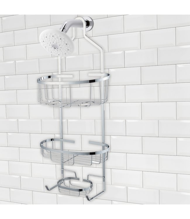 "LAUREN TAYLOR SHOWER CADDY CHROME 11X5X24"" (MP6)"