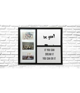 "LAUREN TAYLOR 3 PHOTO FRAME & TEXT BOARD COMBO WALL ART 16X20"" BLACK (MP8)"