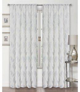 LAUREN TAYLOR STELLA 2PK SEMI-SHEER POLE TOP WINDOW PANEL WHITE (MP12)