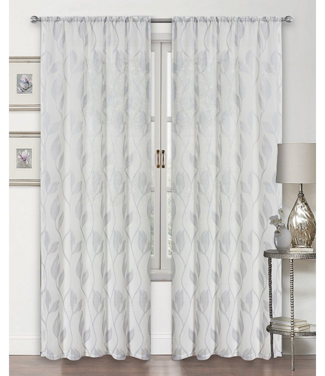 LAUREN TAYLOR STELLA 2PK SEMI-SHEER POLE TOP WINDOW PANEL WHITE (MP12)