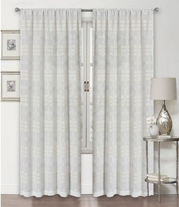 LAUREN TAYLOR SAVANNAH 2PK SEMI-SHEER POLE TOP WINDOW PANEL WHITE (MP12)