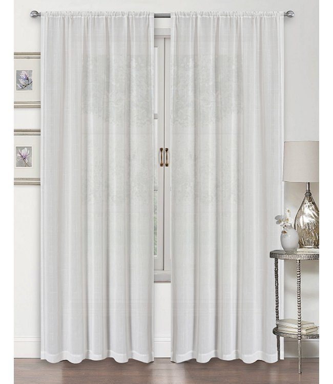 LAUREN TAYLOR MIA 4PK SEMI-SHEER POLE TOP WINDOW PANEL WHITE (MP12) 38X84""