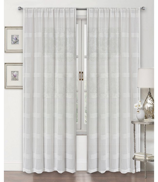 LAUREN TAYLOR *SOPHIA 2PK SEMI-SHEER POLE TOP WINDOW PANEL WHITE (MP12)
