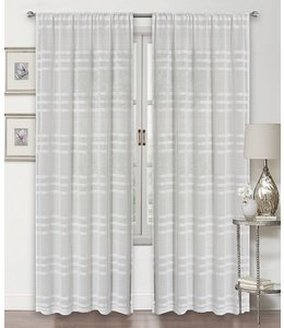 LAUREN TAYLOR EVELYN 2PK SEMI-SHEER POLE TOP WINDOW PANEL WHITE (MP12) 38X84""