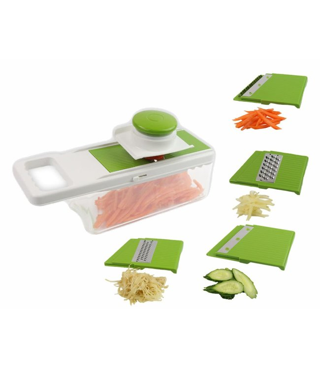 A LA CUISINE 5 BLADE FOOD SLICER w/STORAGE CONTAINER GREEN (MP6)